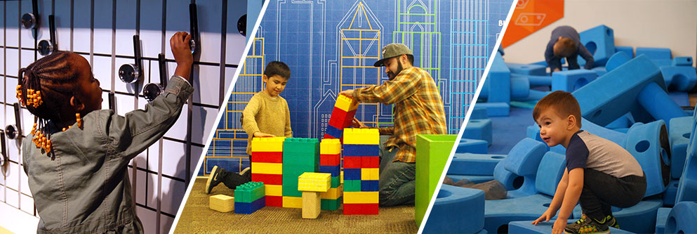 collage of child playing with Music Makers exhibit, child and father playing with blocks and and boy standing on giant blocks