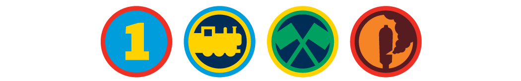 icons of train, railroad flags, steam